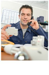 taking a call for customer while describing the circuit breaker